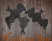 Primitive Halloween Vampire Bat - Handmade Ornie Bowl Filler Tuck Doll Decoration