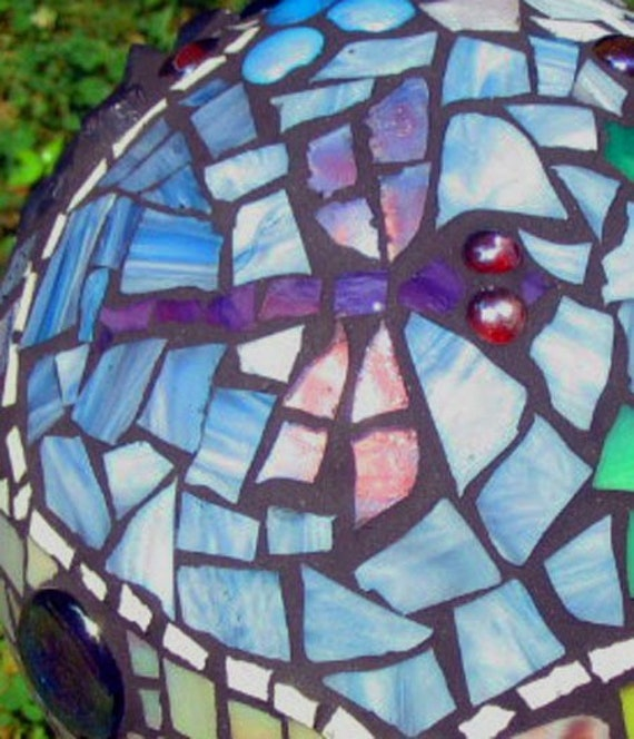 Mosaic gazing ball- MADE TO ORDER, garden ornament, decorative element - One of a Kind