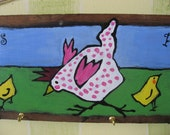 Vintage wood from an Old Sign for CHILDREN'S Room CHICKEN with her Chicks Peeps acrylic painting original art FREE Shipping