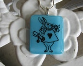 WBN Turquoise Running Rabbit Stained Glass Fused Glass Necklace