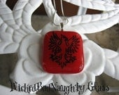 WBN Red Griffin Stained Glass Necklace RESERVED FOR LITHMIRE