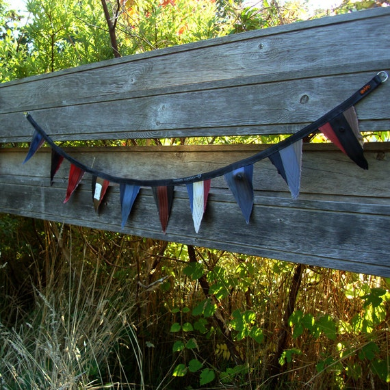 Eco friendly garland made with a bike inner tube and recycled seat belt straps