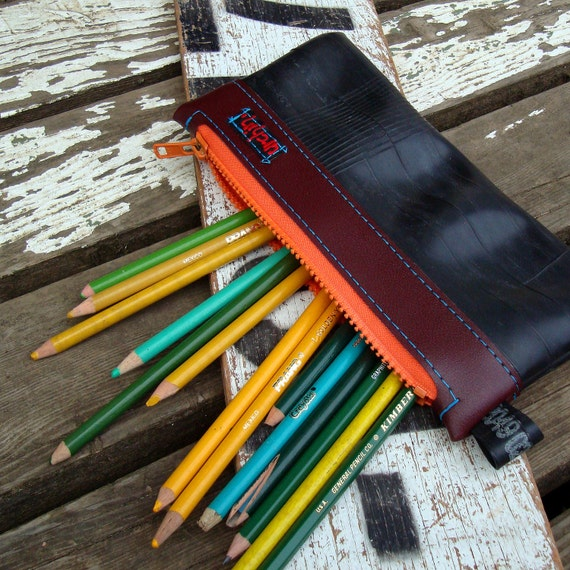 Back To School SALE   Eco friendly pencil case made from reclaimed bike tubes and vinyl