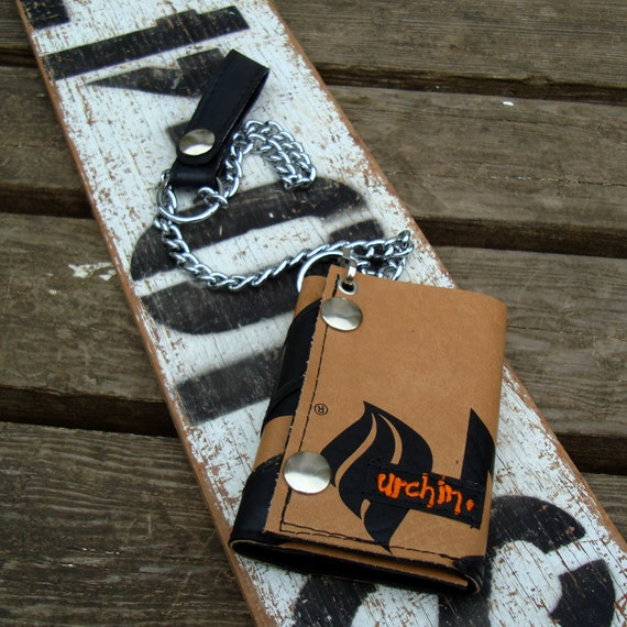 Chain wallet made from reclaimed tennis covers , bike inner tube and a dog choker