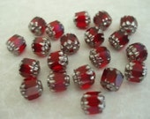 20 pcs. Czech Glass Ruby Red Cathedral Beads BDBC030