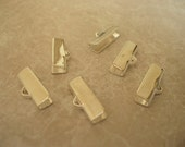 16X5mm Silver Plated End Crimps for Ribbon FRG045 (6pcs)