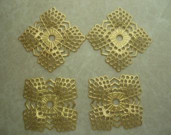 4-Petal Filigree Diamond Square Component (4 pcs.) ST020