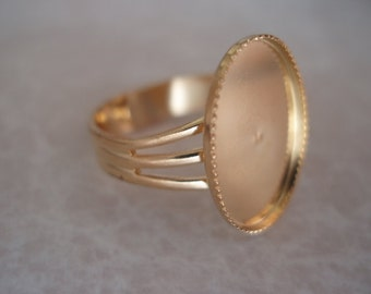Gold Plated Adjustable Ring with 14x10mm Oval Setting FRG128