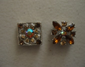 Silver Plated Spacer Link Pewter with Czech Rhinestones (2 pcs.) LCC063