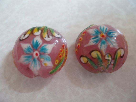 Painted Pink Glass Coin Beads (4pcs.) BDBC017