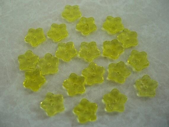 Yellow Flower Bead Caps Czech Pressed Glass 7x3mm 20 pcs.  BDBC048
