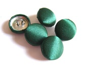 "Lot of 10, 3/4"" (19 mm)  Hunter Green Satin Buttons"