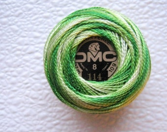 DMC 114 Variegated Lime Green Size 8  Perle Cotton Thread