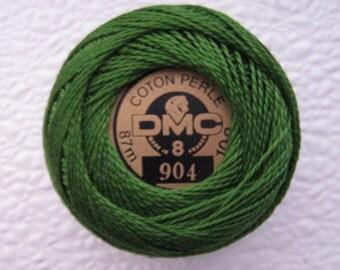 DMC 904 Perle Cotton Thread Size 8 Very Dark Parrot Green
