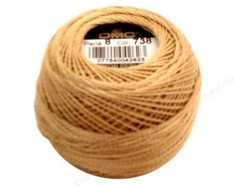 DMC 738 Very Light Tan - Perle Cotton Thread Size 8