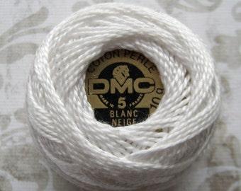 DMC Blanc -  Perle Cotton Thread Size 5 - White, White off, Natural