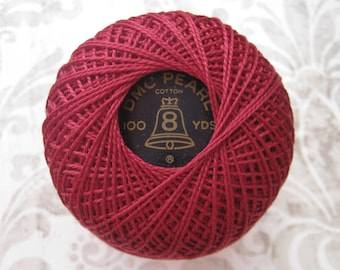 100 YARDS - DMC 816-  Garnet Red - Perle Cotton Thread Size 8 - Vintage