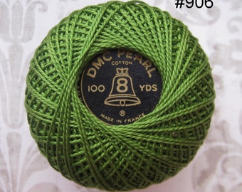 DMC 906 Medium Parrot Green Perle Cotton Thread Size  8