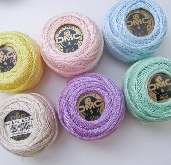 6 balls Pale Pastel Colors DMC Perle Cotton Threads Size 8 Ecru, Yellow, Pink, Blue, Lilac, Green