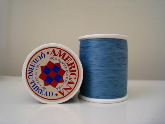 1 Spool Blue Hand Quilting Thread 100 Percent Glaced Cotton