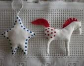 Primitive Christmas ornaments-Hand Sewn Appaloosa and Star-Eco Friendly