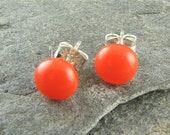 Orange Stud Earrings.  Perfect for everyday wear.  Great summer Earrings.  Handcrafted and designed in Texas.