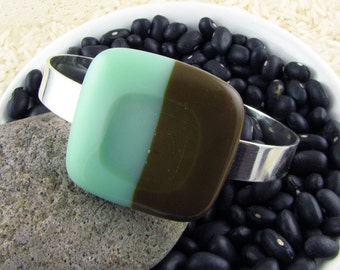Mint and Brown Cuff Bracelet.  Fused Glass Jewelry.  Modern Bracelet.  Art Glass Jewelry.  Handmade Glass Jewelry from Texas.