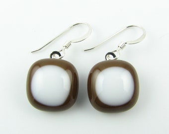 Brown and White Fused Glass Earrings