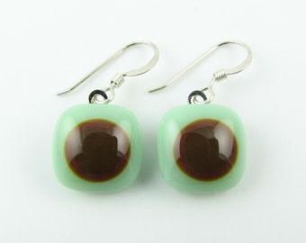 Mint and Brown Fused Glass Earrings