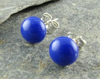 Cobalt Blue Stud Earrings / Handmade Glass Jewelry / Small Casual Stud Earrings