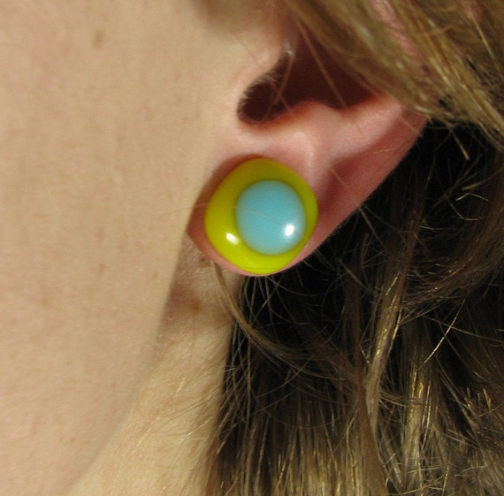 Yellow and Turquoise Fused Glass Studs