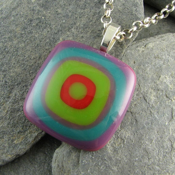 Colorful Fused Glass Pendant