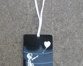 Recycled Christmas Tree Ornament Made from Vinyl Record with Banksy Image
