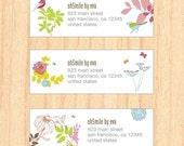 Personalized address label - mailing label - 99 labels - flowers - FREE SHIPPING