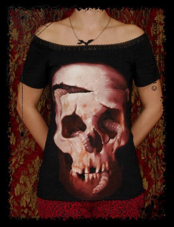 Halloween Horror shirt off shoulder top gothic clothing alternative apparel rotting skull shirt