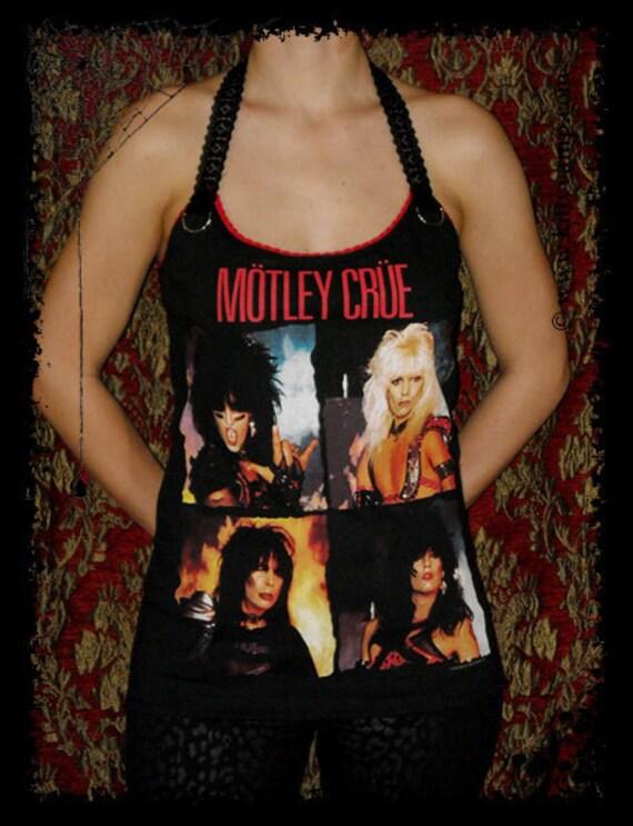 Motley Crue Glam Rock 80s Metal Vince Tommy Nikki Shirt Halter top S M L XL