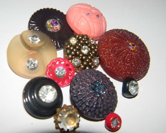 Vintage Mixed rhinestone button Lot colors