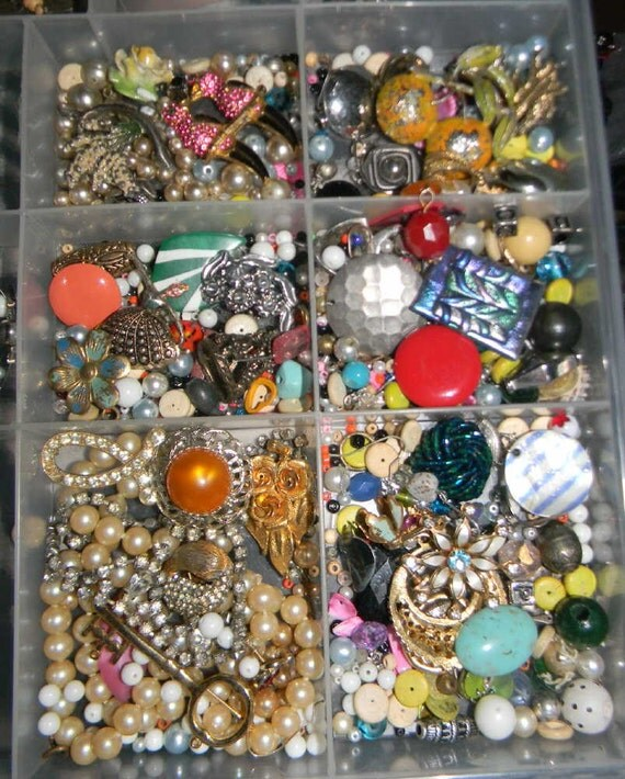 Large Destash Vintage jewelry lot for craft upcycle 8