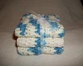 3 Hand Crocheted All Cotton Dish or Bath Cloths