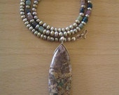 Sand Dunes - Imperial Jasper, Jade and Freshwater Pearl, Sterling Silver Necklace