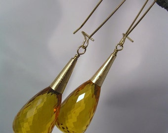 Honey Drops Golden Citrine Briolette Earrings