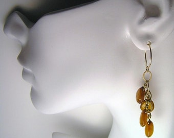Golden Chalcedony Briolette Gemstone 14K GF Earrings