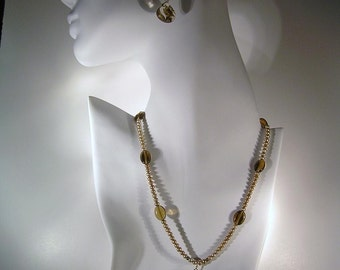 Rutilated (Veined) Quartz, Smokey Quartz, Taupe Freshwater Pearl, 14K Gold, Necklace and Earring set