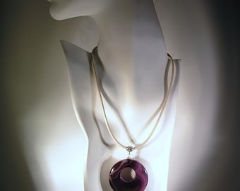 Purple Haze - Amethyst Agate Donut Pendant on Cream Leather Necklace