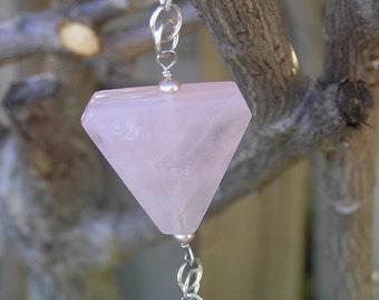 Pink Rose Petals - Rose Quartz, Trillion, Sterling Silver Necklace