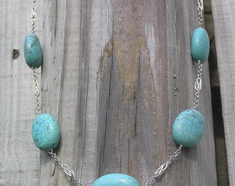 Blue Birds chained - Large Turquoise ovals, Decorative Sterling Silver Necklace
