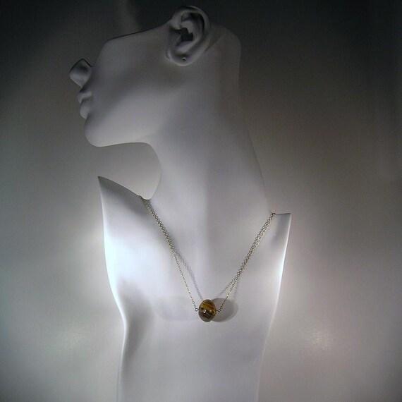 Fire in the Night - Golden, Cherry Quartz, 14K Necklace