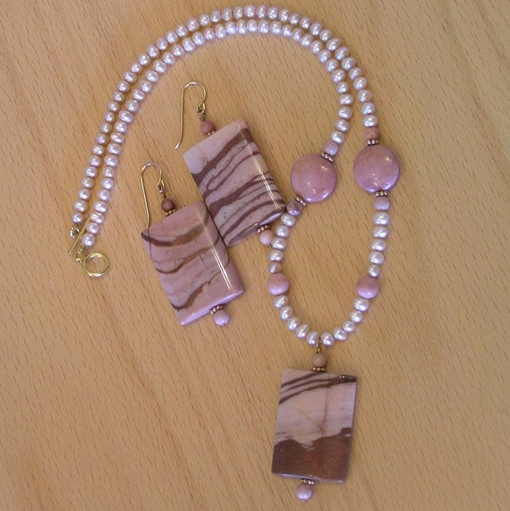 Chocolate and Raspberry Mousse - Zebra Jasper, Mookaite, Pearl, Vermiel, 14K GF Necklace and Earrings