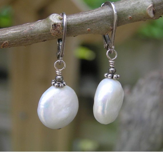Bubbles - Simple, White Coin Pearl, Sterling Silver, Leverback, Earrings