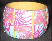 Cuff Bangle Decoupage Pink, Turquoise, Gold OOAK